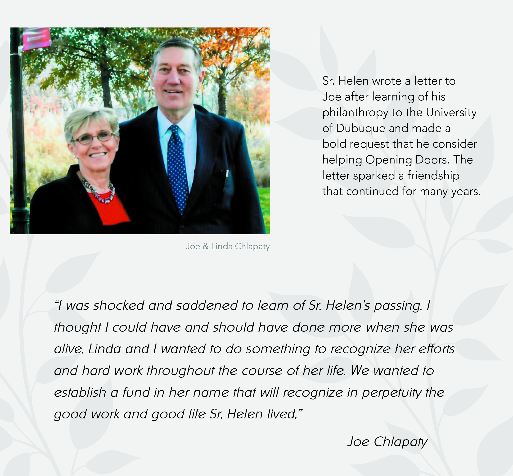 Joe and Linda Chlapaty photo and quote